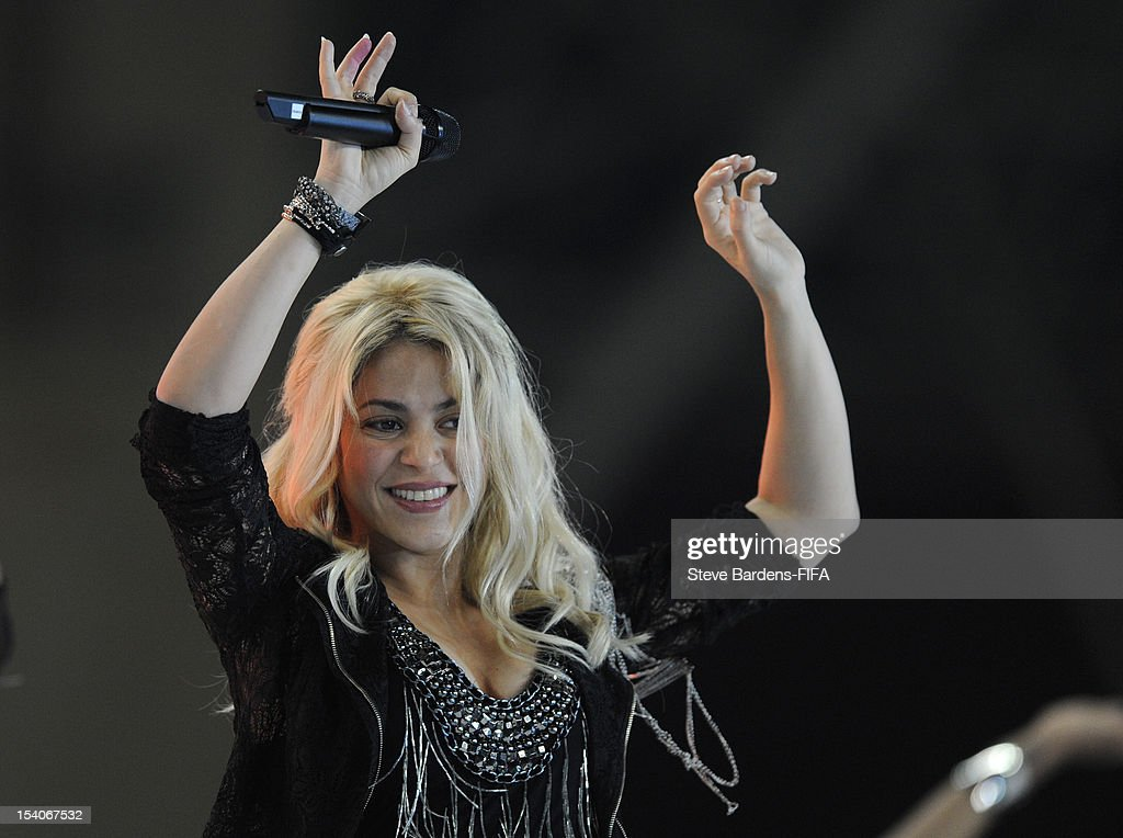<a gi-track='captionPersonalityLinkClicked' href=/galleries/search?phrase=Shakira&family=editorial&specificpeople=160650 ng-click='$event.stopPropagation()'>Shakira</a> performs for the crowd after the FIFA U-17 Women's World Cup 2012 Final between France and Korea DPR at the Tofig Bahramov Stadium on October 13, 2012 in Baku, Azerbaijan.