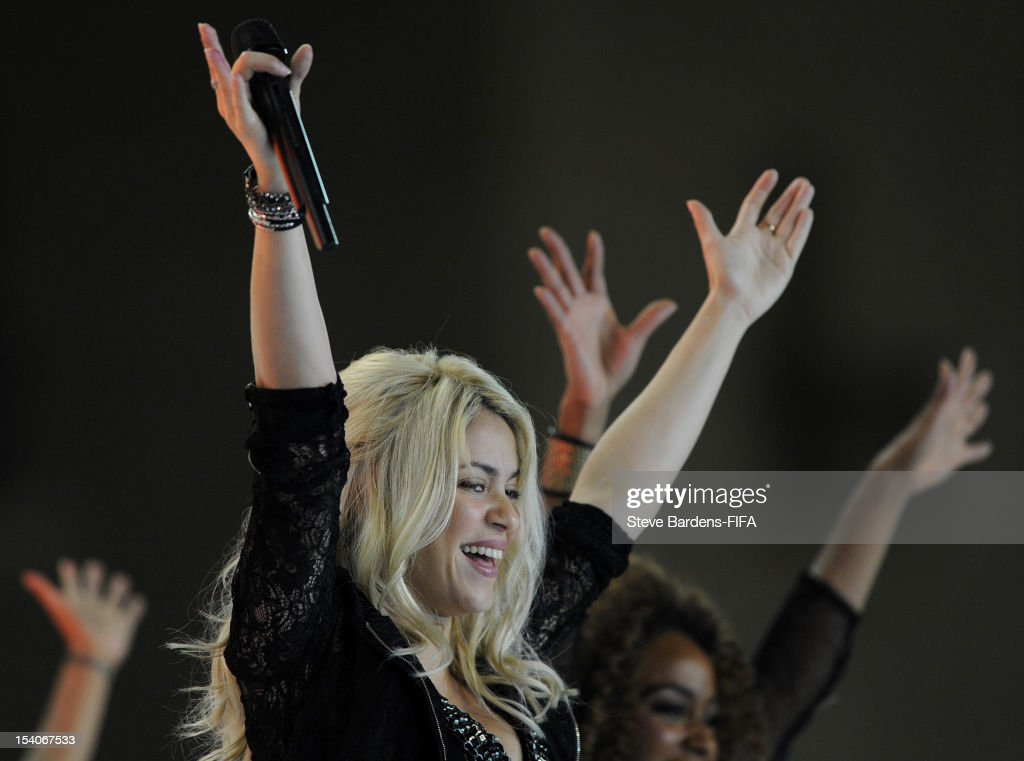 Shakira performs for the crowd after the FIFA U-17 Women's World Cup 2012 Final between France and Korea DPR at the Tofig Bahramov Stadium on October 13, 2012 in Baku, Azerbaijan.