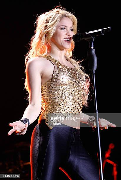 Shakira performs on stage at the Olympiysky Sports Complex during her World Tour on May 24 2011 in Moscow Russia