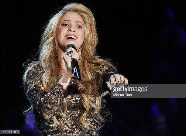 Shakira performs onstage during the 2014 Billboard Music Awards held at MGM Grand Garden Arena on May 18 2014 in Las Vegas Nevada