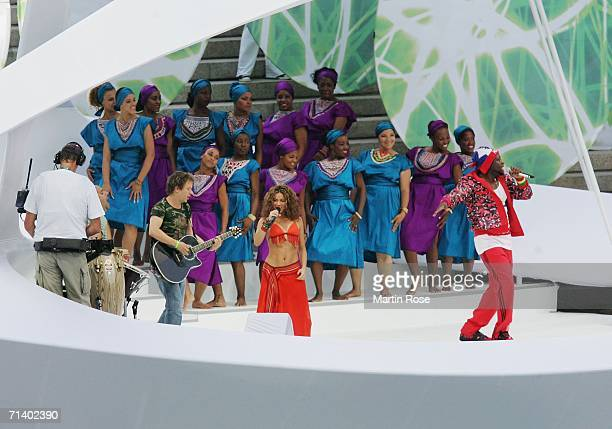 Shakira performs prior to the FIFA World Cup Germany 2006 Final match between Italy and France at the Olympic Stadium on July 9 2006 in Berlin Germany