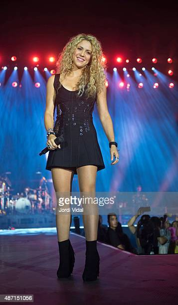 Shakira performs with Mana at Palau Sant Jordi on September 6 2015 in Barcelona Spain