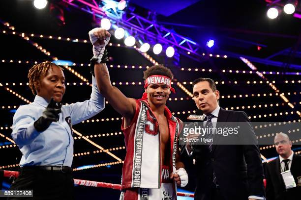 Shakur Stevenson celebrates his TKO win against Oscar Mendoza in their Featherweight bout at Madison Square Garden on December 9 2017 in New York City