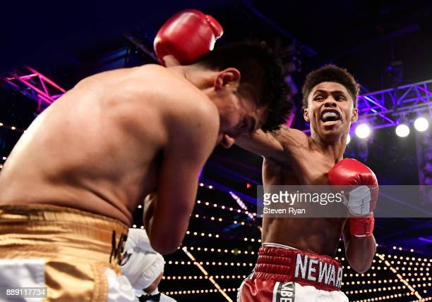 Shakur Stevenson lands a punch on Oscar Mendoza at Madison Square Garden on December 9 2017 in New York City