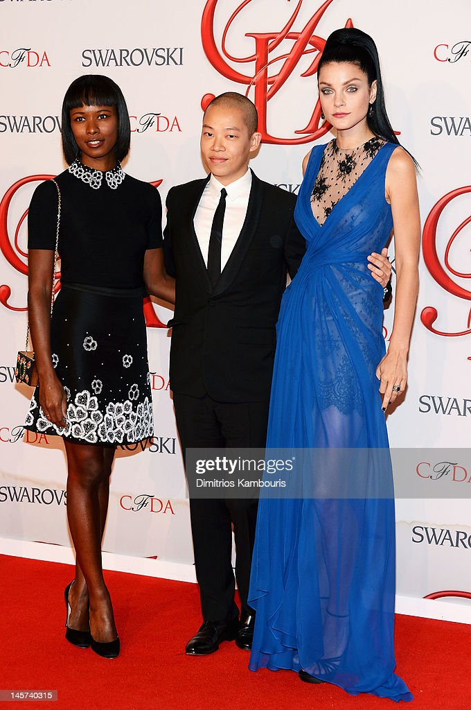 Shala Monroque, designer Jason Wu and model <a gi-track='captionPersonalityLinkClicked' href=/galleries/search?phrase=Jessica+Stam&family=editorial&specificpeople=657570 ng-click='$event.stopPropagation()'>Jessica Stam</a> attend the 2012 CFDA Fashion Awards at Alice Tully Hall on June 4, 2012 in New York City.
