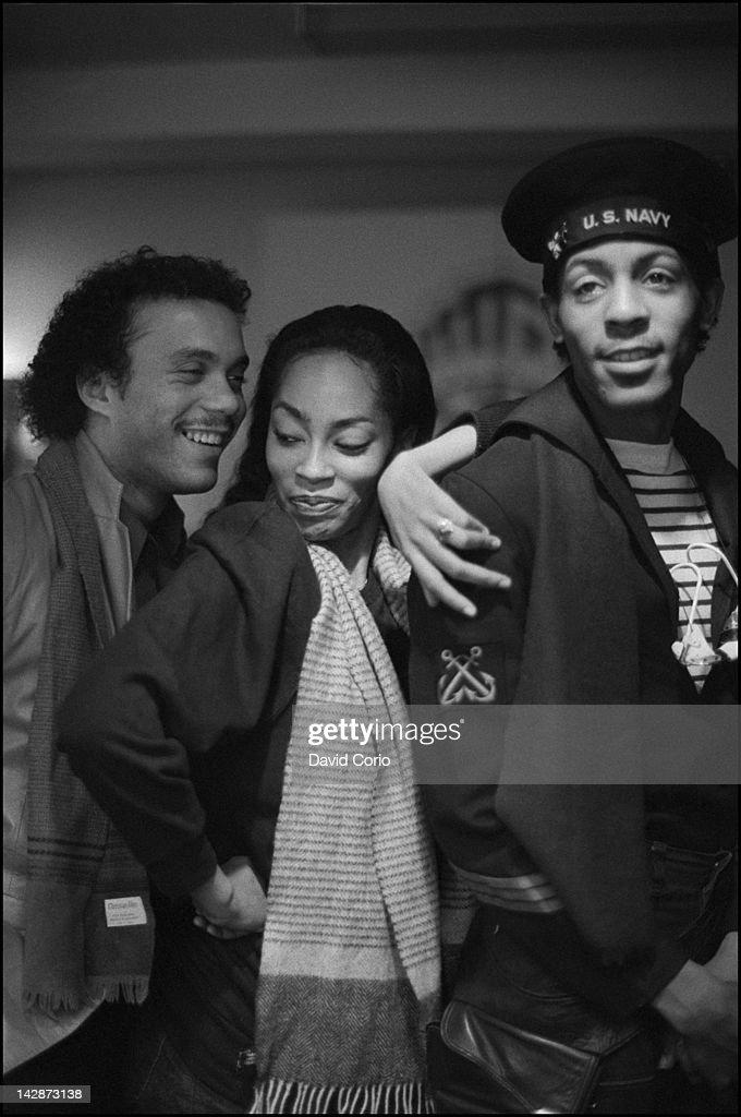 Shalamar Howard Hewett Jody Watley and Jeffrey Daniel at WEA Records Soho London UK 19 February 1982