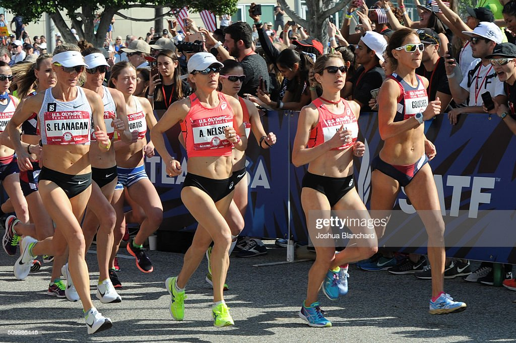 U.S. (L-R) Shalane Flanagan, Adriana Nelson, Sara Hall and Kara Goucher at the start of the Olympic Team Trials Women's Marathon on February 13, 2016 in Los Angeles, California.