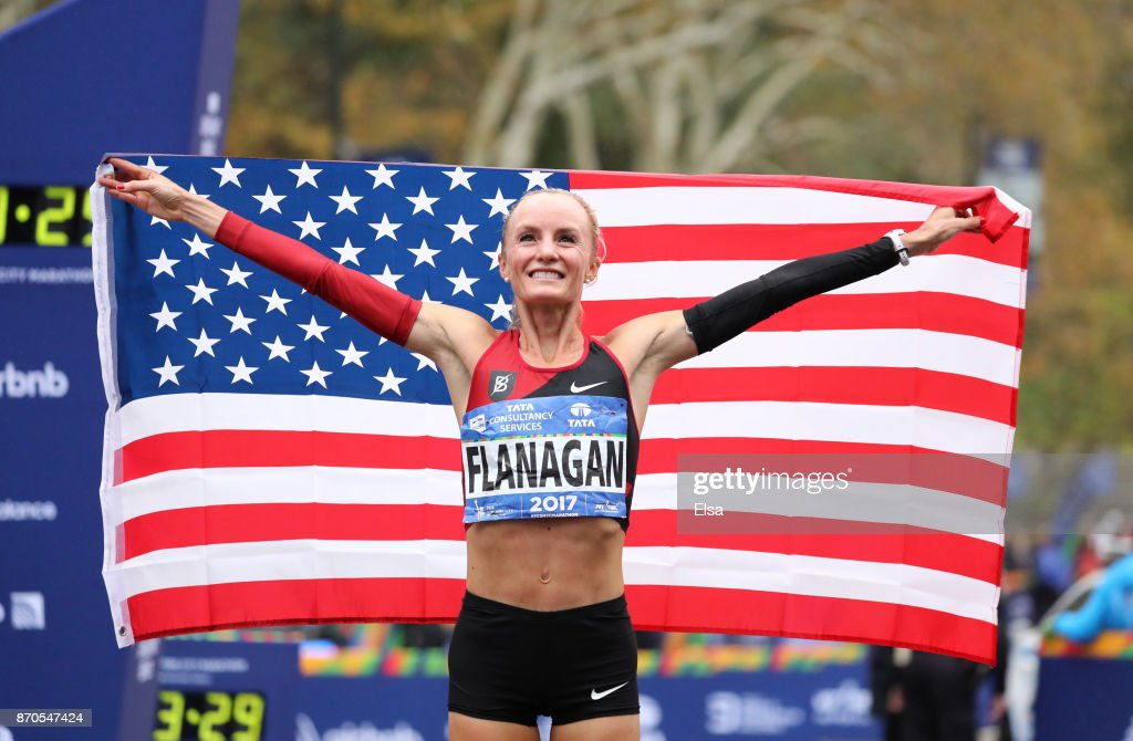 Shalane Flanagan of the United States celebrates winning the Professional Women's Division during the 2017 TCS New York City Marathon in Central Park on November 5, 2017 in New York City.