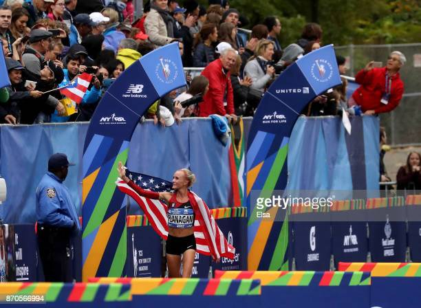 Shalane Flanagan of the United States does a victory lap after winning the Professional Women's Division during the 2017 TCS New York City Marathon...