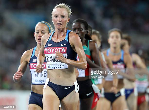 Shalane Flanagan of United States compete in the women's 10000 metres final during day one of the 13th IAAF World Athletics Championships at the...
