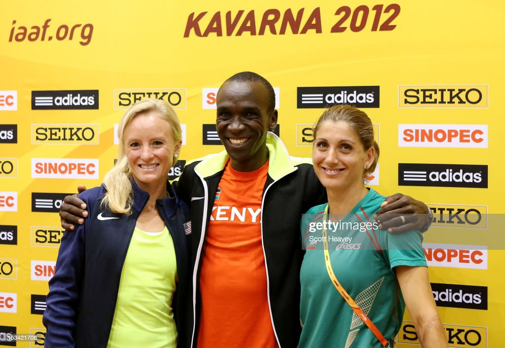 <a gi-track='captionPersonalityLinkClicked' href=/galleries/search?phrase=Shalane+Flanagan&family=editorial&specificpeople=2336331 ng-click='$event.stopPropagation()'>Shalane Flanagan</a> of United States (L) with <a gi-track='captionPersonalityLinkClicked' href=/galleries/search?phrase=Eliud+Kipchoge&family=editorial&specificpeople=586946 ng-click='$event.stopPropagation()'>Eliud Kipchoge</a> of Kenya (C) and Silviya Danekova of Bulgaria during a press conference ahead of the 20th IAAF World Half Marathon on October 5, 2012 in Kavarna, Bulgaria.