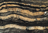 Layers of shale exposed on coastline.