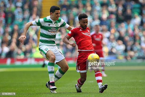 Shaleum Logan of Aberdeen and Tomas Rogic of Celtic during the Ladbroke Scottish Premiership match between Celtic and Aberdeen at Celtic Park on May...
