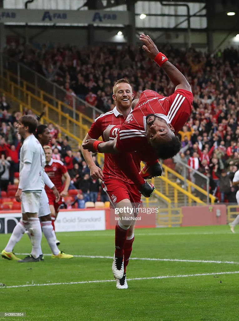 Shaleum Logan of Aberdeen celebrates after he scores during the UEFA Europa League First Qualifying Round First Leg match between Aberdeen and CS...
