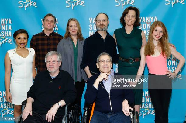 Shalita Grant Billy Magnussen Kristine Nielsen David Hyde Pierce Sigourney Weaver and Genevive Angelson pose behind playwright Christopher Durang and...