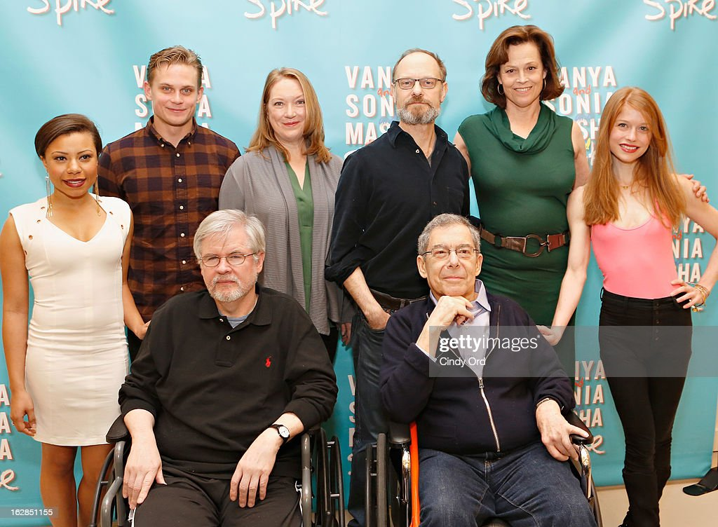 Shalita Grant, Billy Magnussen, Kristine Nielsen, David Hyde Pierce, Sigourney Weaver and Genevive Angelson pose behind playwright Christopher Durang (L) and Director Nicholas Martin at the 'Vanya And Sonia And Masha And Spike' Broadway Press Preview at The New 42nd Street Studios on February 28, 2013 in New York City.