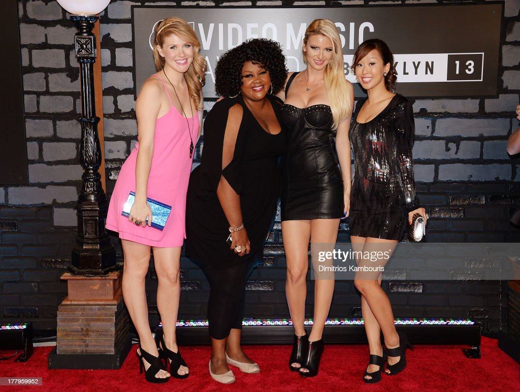 Shalyah Evans, Nicole Byer, April Rose and Esther Ku of 'Girl Code' attend the 2013 MTV Video Music Awards at the Barclays Center on August 25, 2013 in the Brooklyn borough of New York City.
