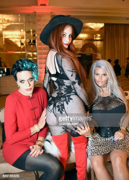 Sham Ibrahim Phoebe Price and Sophia Vegas at Los Angeles Fashion Week SS18 Art Hearts Fashion LAFW on October 8 2017 in Los Angeles California