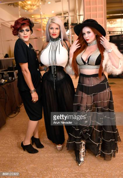 Sham Ibrahim Sophia Vegas and Phoebe Price at Los Angeles Fashion Week SS18 Art Hearts Fashion LAFW on October 5 2017 in Los Angeles California