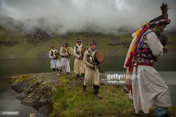 Shaman ritual at misty Gosaikunda Lake, Nepal