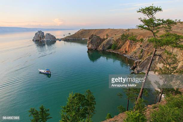Shaman Rock and Lake Baikal in Siberia, Russia