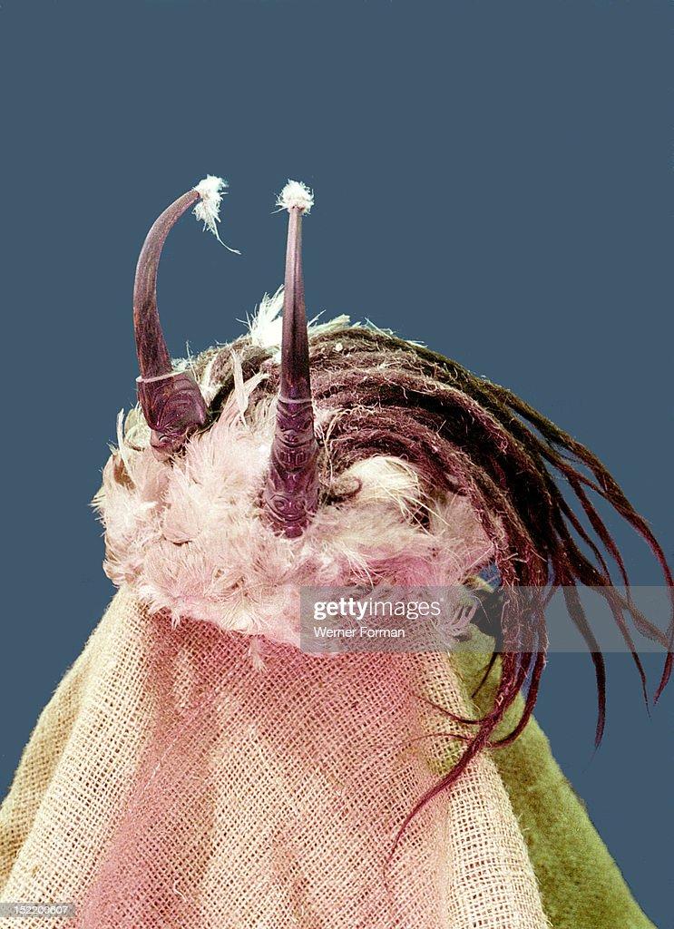 shamans headdress (known as shamans hair) made of birds skin, Human Body