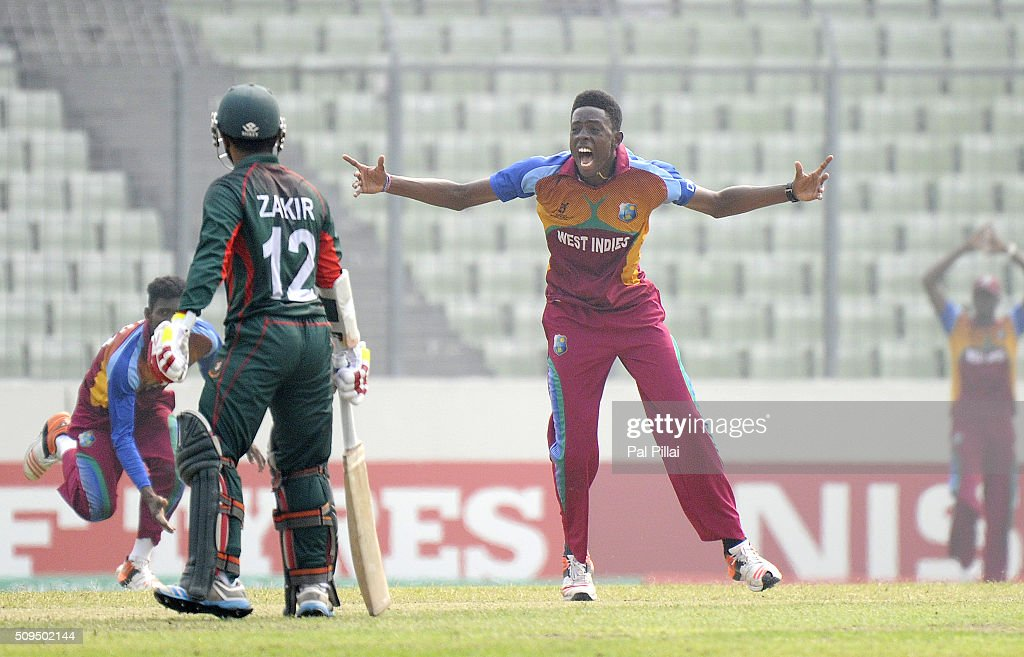 Shamar Springer of West Indies U19 appeals unsuccessfully for the wicket of MD Mehidy Hassan Miraz of Bangladesh during the ICC U 19 World Cup Semi-Final match between Bangladesh and West Indies on February 11, 2016 in Dhaka, Bangladesh.
