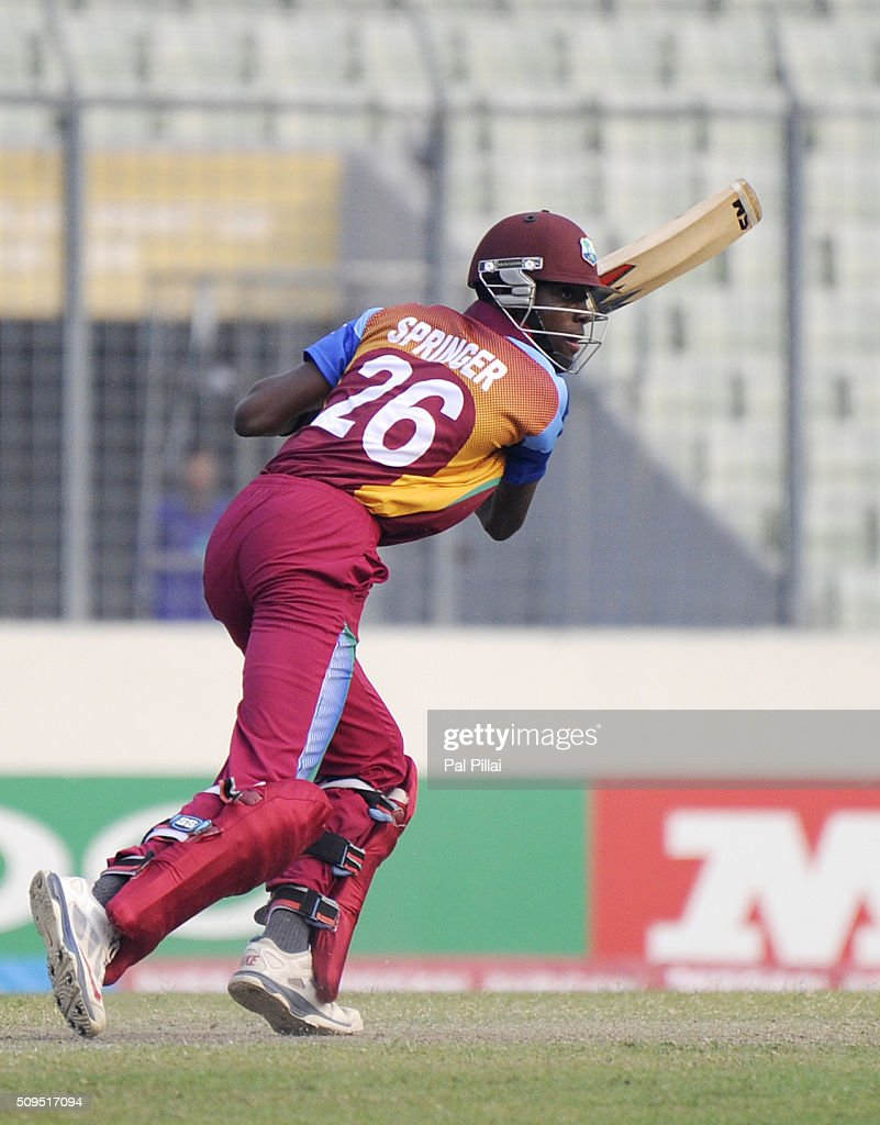 Shamar Springer of West Indies U19 bats during the ICC U 19 World Cup Semi-Final match between Bangladesh and West Indies on February 11, 2016 in Dhaka, Bangladesh.