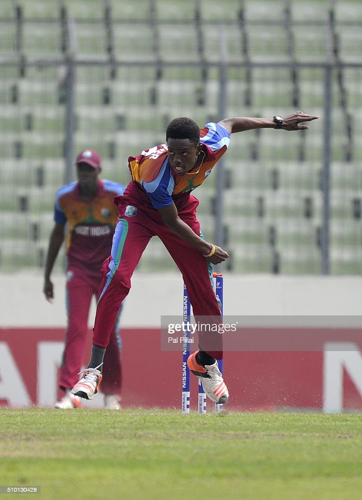 Shamar Springer of West Indies U19 bowls during the ICC U19 World Cup Final Match between India and West Indies on February 14, 2016 in Dhaka, Bangladesh.