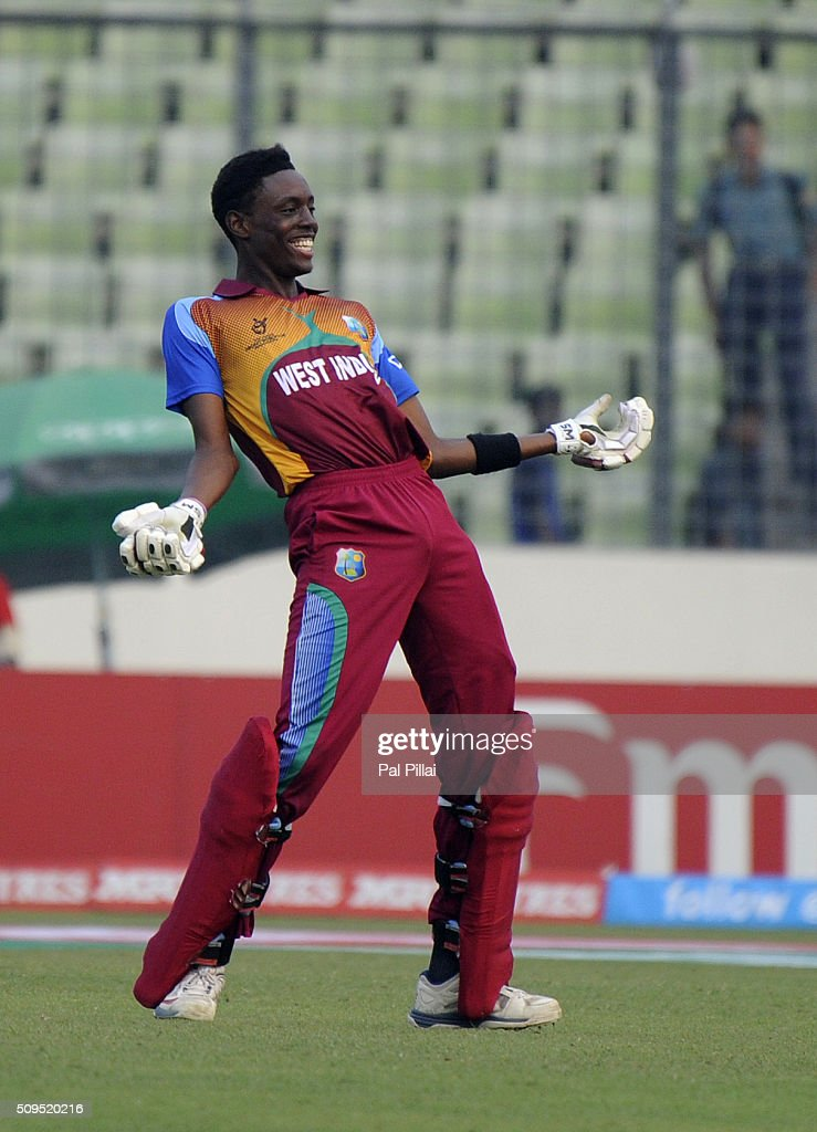 Shamar Springer of West Indies U19 celebrate after winning the ICC U 19 World Cup Semi-Final match between Bangladesh and West Indies on February 11, 2016 in Dhaka, Bangladesh.