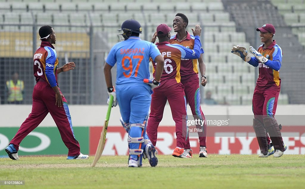 Shamar Springer of West Indies U19 celebrates the wicket of Armaan Jaffer of India during the ICC U19 World Cup Final Match between India and West Indies on February 14, 2016 in Dhaka, Bangladesh.