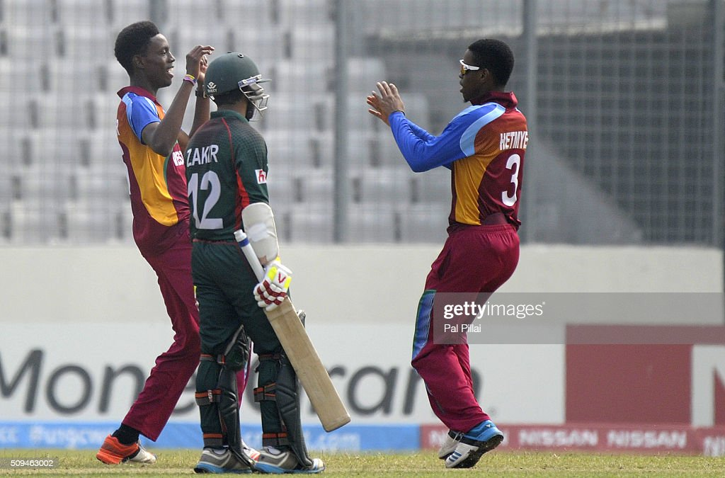 Shamar Springer of West Indies U19 celebrates the wicket of Joyraj Sheik of Bangladesh U19 during the ICC U 19 World Cup Semi-Final match between Bangladesh and West Indies on February 11, 2016 in Dhaka, Bangladesh.