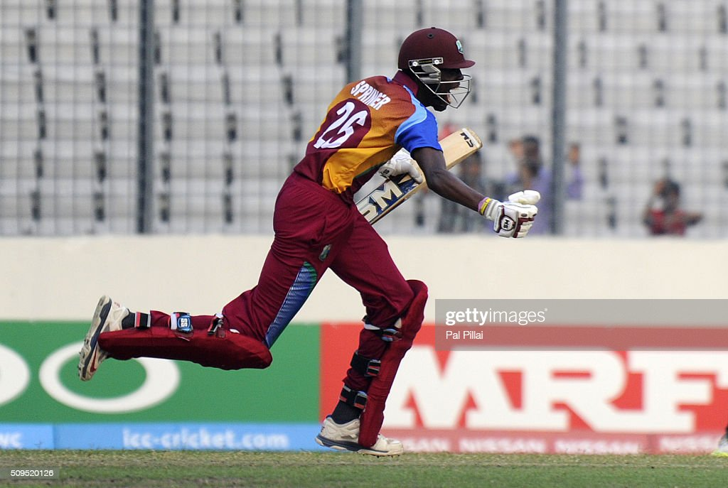Shamar Springer of West Indies U19 runs to celebrate after scoring the winning run during the ICC U 19 World Cup Semi-Final match between Bangladesh and West Indies on February 11, 2016 in Dhaka, Bangladesh.