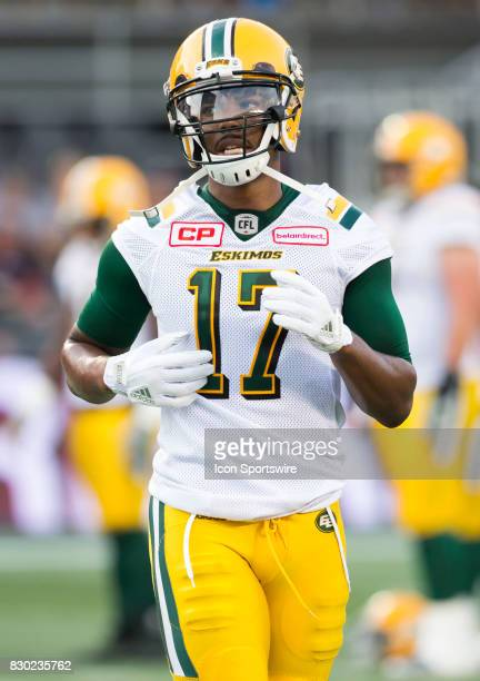 Shamawd Chambers of the Edmonton Eskimos before Canadian Football League action at TD Place in Ottawa Canada on 10 August 2017