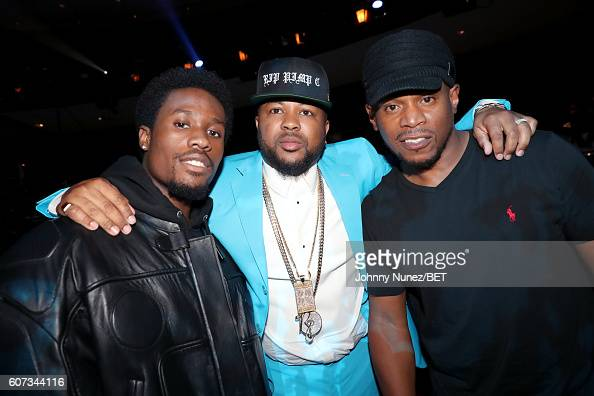 Shameik Moore TheDream and Sway poses backstage during the 2016 BET Hip Hop Awards at Cobb Energy Performing Arts Center on September 17 2016 in...