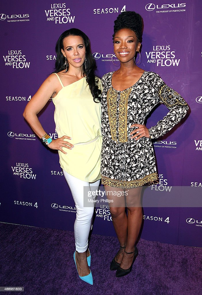 Shamicka Lawrence and Brandy Norwood arrive at 'Verses And Flow' Season 4 taping presented by TV One at Siren Studios on May 8, 2014 in Hollywood, California.