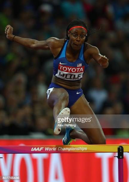 Shamier Little of the United States competes in the Women's 400 metres hurdles semi finals during day five of the 16th IAAF World Athletics...