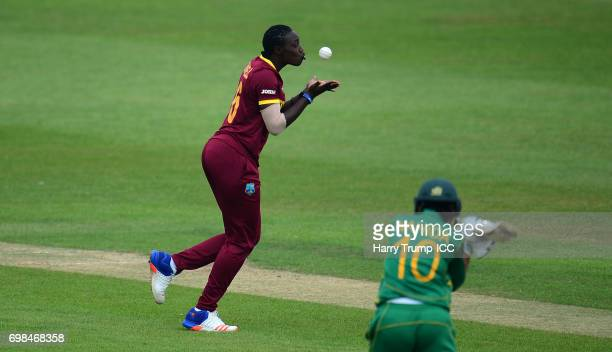 Shamilia Connell of West Indies Women taking a catch to dismiss Nahida Khan of Pakistan during the ICC Women's World Cup Warm Up Match between West...