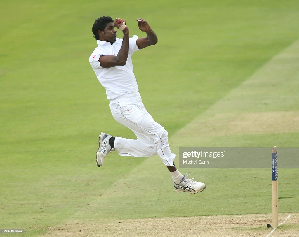 <a gi-track='captionPersonalityLinkClicked' href=/galleries/search?phrase=Shaminda+Eranga&family=editorial&specificpeople=8049726 ng-click='$event.stopPropagation()'>Shaminda Eranga</a> of Sri Lanka bowling during day three of the 3rd Investec Test match between England and Sri Lanka at Lords Cricket Ground on June 11, 2016 in London, United Kingdom.