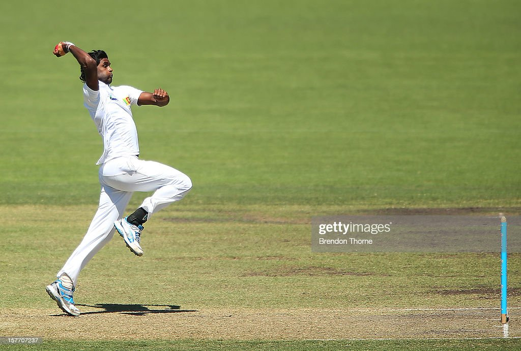 Shaminda Eranga of Sri Lanka bowls during day one of the international tour match between the Chairman's XI and Sri Lanka at Manuka Oval on December 6, 2012 in Canberra, Australia.