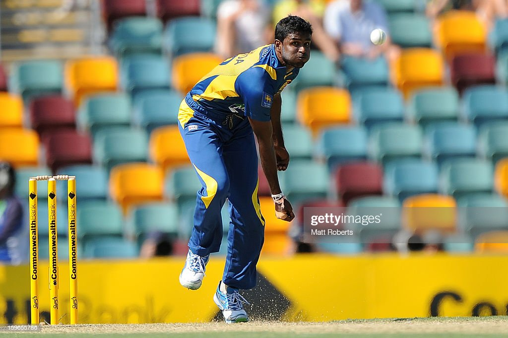 <a gi-track='captionPersonalityLinkClicked' href=/galleries/search?phrase=Shaminda+Eranga&family=editorial&specificpeople=8049726 ng-click='$event.stopPropagation()'>Shaminda Eranga</a> of Sri Lanka bowls during game three of the Commonwealth Bank One Day International Series between Australia and Sri Lanka at The Gabba on January 18, 2013 in Brisbane, Australia.