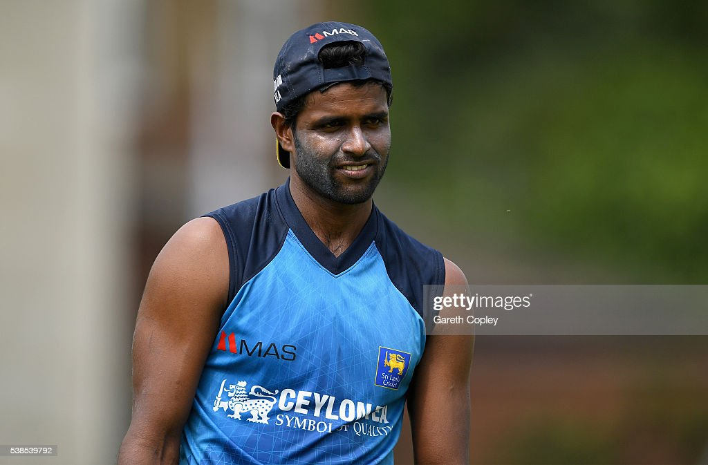<a gi-track='captionPersonalityLinkClicked' href=/galleries/search?phrase=Shaminda+Eranga&family=editorial&specificpeople=8049726 ng-click='$event.stopPropagation()'>Shaminda Eranga</a> of Sri Lanka during a nets session ahead of the 1st Investec Test match between England and Sri Lanka at Lord's Cricket Ground on June 7, 2016 in London, United Kingdom.