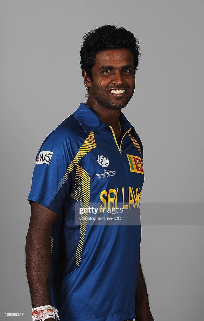<a gi-track='captionPersonalityLinkClicked' href=/galleries/search?phrase=Shaminda+Eranga&family=editorial&specificpeople=8049726 ng-click='$event.stopPropagation()'>Shaminda Eranga</a> of Sri Lanka during the Sri Lanka Portrait Session at the Marriott Hotel on May 28, 2013 in Birmingham, England.