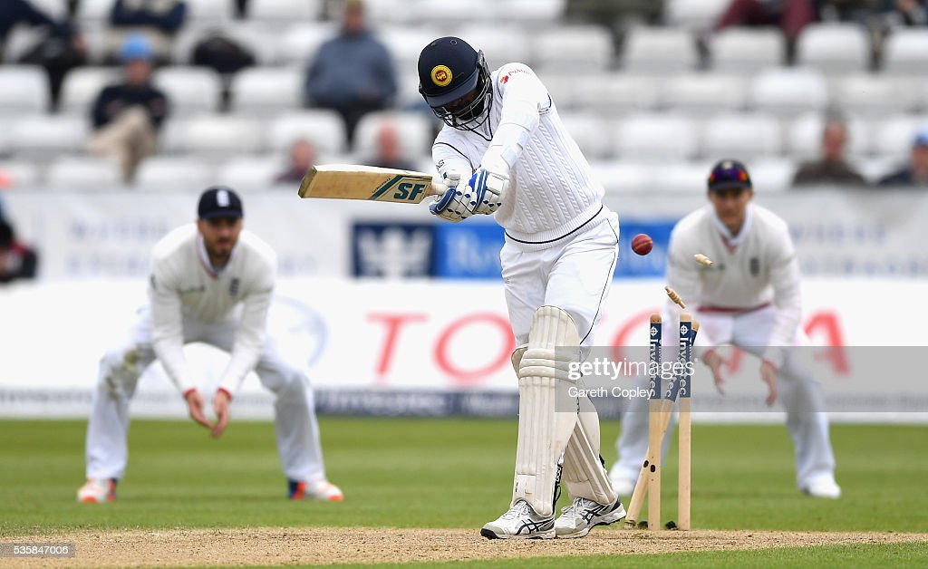 <a gi-track='captionPersonalityLinkClicked' href=/galleries/search?phrase=Shaminda+Eranga&family=editorial&specificpeople=8049726 ng-click='$event.stopPropagation()'>Shaminda Eranga</a> of Sri Lanka is bowled by James Anderson of England during day four of the 2nd Investec Test match between England and Sri Lanka at Emirates Durham ICG on May 30, 2016 in Chester-le-Street, United Kingdom.