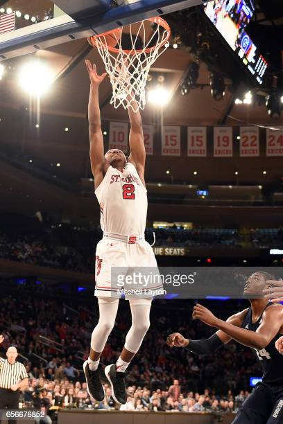 Shamorie Ponds of the St John's Red Storm goes for a dunk during the Big East Basketball Tournament First Round game against the Georgetown Hoyas at...