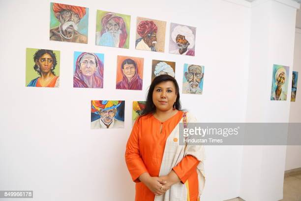 Shampa Sircar Das during an exhibition to celebrate the legacy of iconic artist Amrita SherGil and works by Hungarian artist Ildiko MorovszkiHalasz...