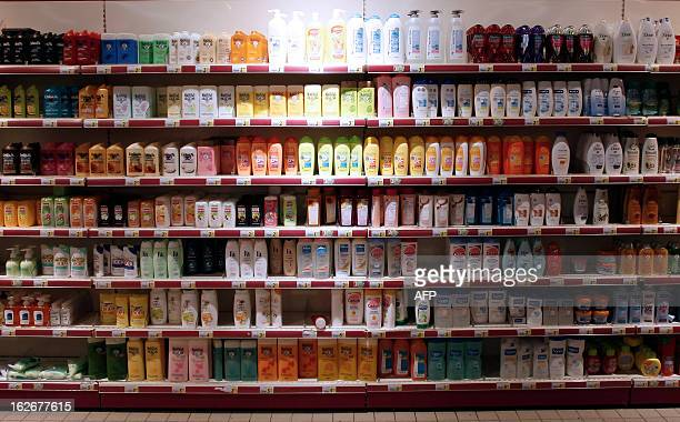 Shampoo bottles are displayed at a supermarket in Herouville SaintClair northwestern France on February 26 2013 AFP PHOTO/CHARLY TRIBALLEAU