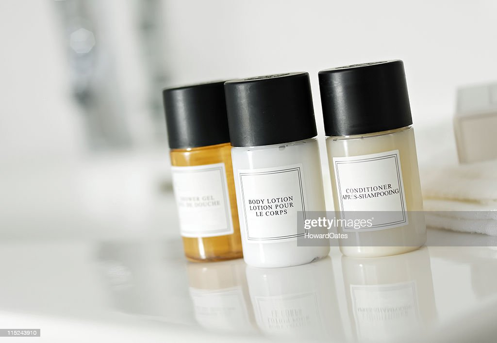 Shampoo, conditioner and soap bottles : Stock Photo