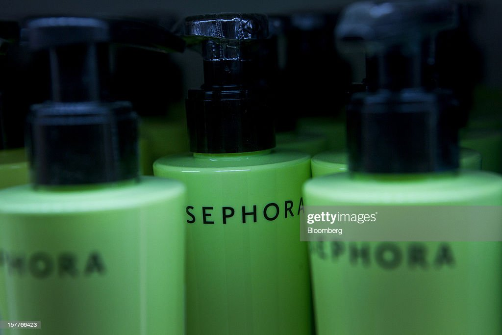 Shampoo containers are displayed for sale during the opening of a Sephora SA store at the Riosul shopping mall in Rio de Janeiro, Brazil, on Wednesday, Dec. 5, 2012. Sephora SA, a French beauty product retail chain, opened its first Brazil location earlier this year in July. Photographer: Dado Galdieri/Bloomberg via Getty Images