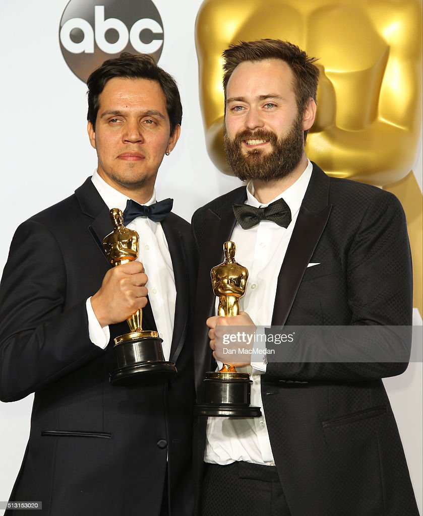 Shan Christopher Ogilvy and Benjamin Cleary winners for Best Live Action short Film for 'Stutterer' pose in the press room at the 88th Annual Academy...